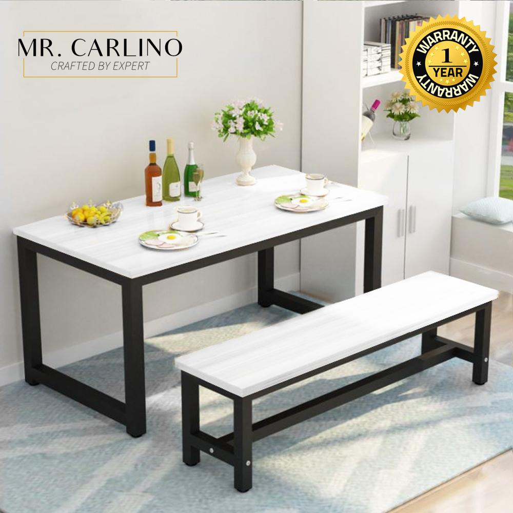 NIXON Simple & Easy Rectangular Dining Table With Long Bench Set