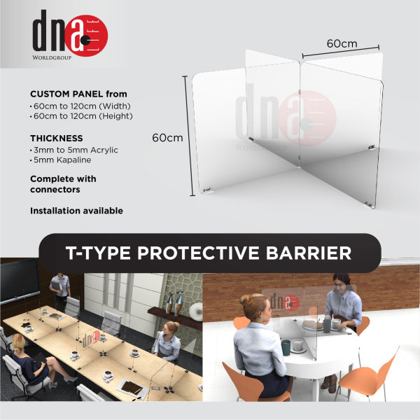 Sneeze Guard, Protective Barrier, Plexiglass Acrylic Shield for offices, retail shops, cashiers, clinics, supermarkets and banks - T Type
