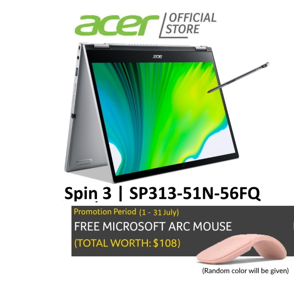 Acer NEW Spin 3 SP313-51N-56FQ 13.3 inch (2560x1600) IPS Touch Screen Convertible Laptop with Latest 11 Gen Intel Core Processor