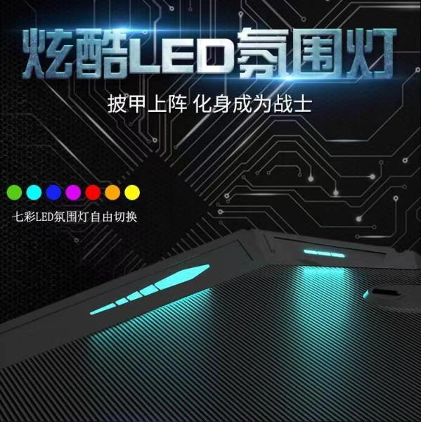 GAMEGODU Professional Gaming Computer Table - 3D Stereoscopic Carbon Pattern - 120/140cm x 60cm x 71cm - Home/Office Use - Detachable 7 Color LED Atmosphere Lights (USB Connection, Switch Mode Color & Speed Control) - Double Cable Hole - Earphone Hook