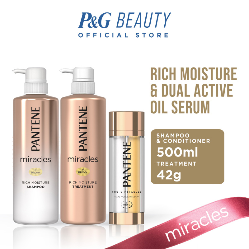 Buy [Bundle of 3] Pantene Miracles Rich Moisture Shampoo 500ml + Conditioner 500ml + Dual Chamber Oil Serum 42g Singapore