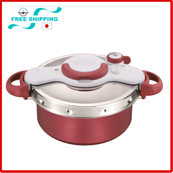 Tefal pressure cooker 5.2L IH compatible, One-touch opening and closing 2in1 Clipso Minut DUO, IH & GAS Stove Compatible,Red Singapore