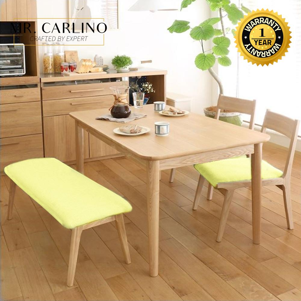 OISIN [140 x 70 x 75 cm] Alma Japanese Style Solid Rubber Wood Dining Table With Chairs and Bench Set