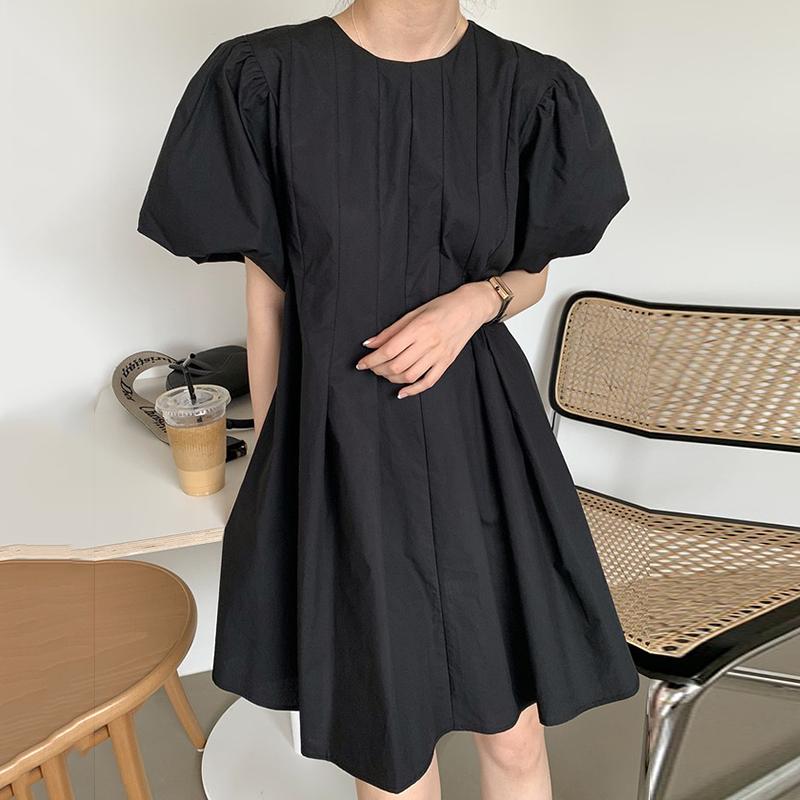 Hàn Quốc Chic Đơn Giản Màu Cam Trắng Cổ Tròn Xếp Nếp Thiết Kế Dáng Suông Rộng, Nhỏ, Tay Bồng Đầm Váy Ngắn Nữ
