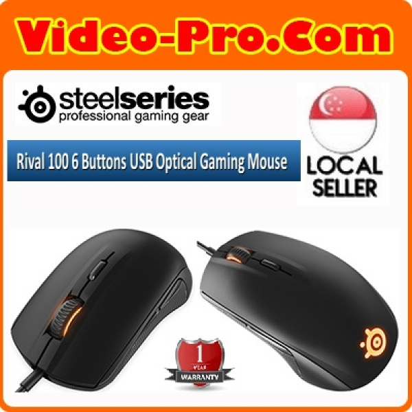 SteelSeries Rival 100 USB Optical Gaming Mouse Black (O-E-M Pack) PN62343 1 Year Local Warranty