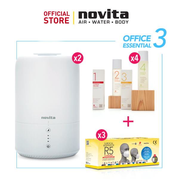 novita Office Essential Package 3 (Humidifier NH810 x 2 + Air Purifying Solution Concentrate x 4 + Surgical Respirator R5 Earband 100pcs in a box x 3) Singapore
