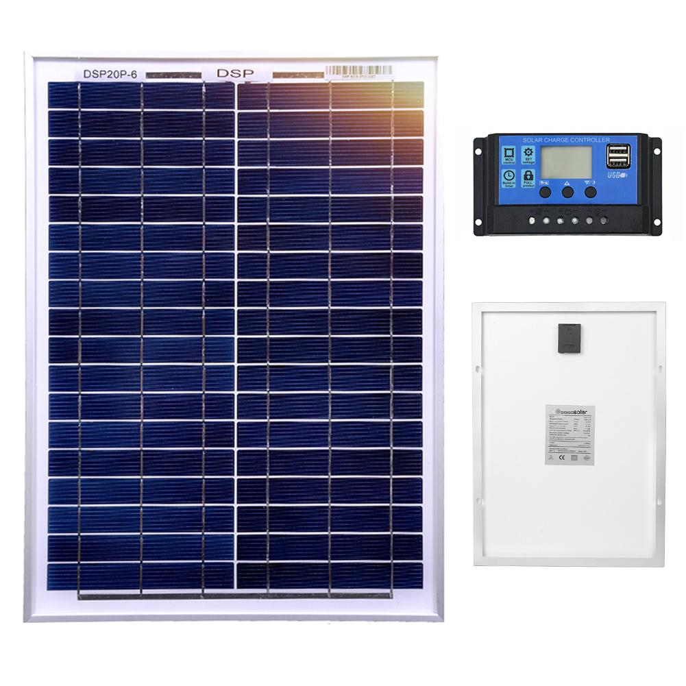 DOKIO 18 Volt 12V 20Watt Small Solar Panel China Waterproof Panels Solar Sets Cell/Module/System/Home/Boat 10A 12/24V Controlle