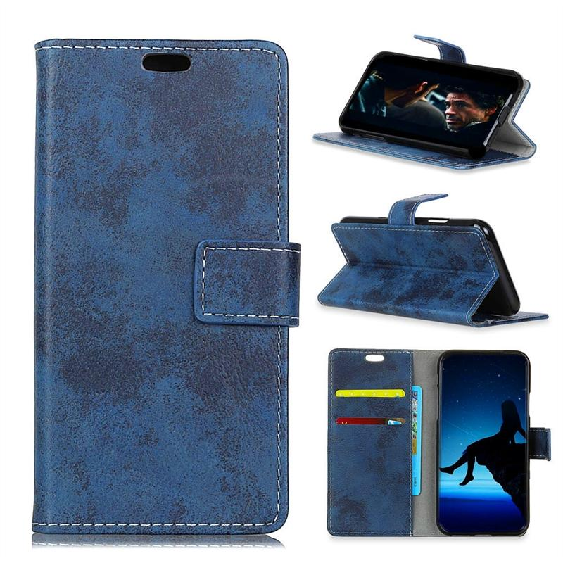 Case for PU Leather Wallet Case Card Slots Cover for Samsung Galaxy J7 Duo Blue -