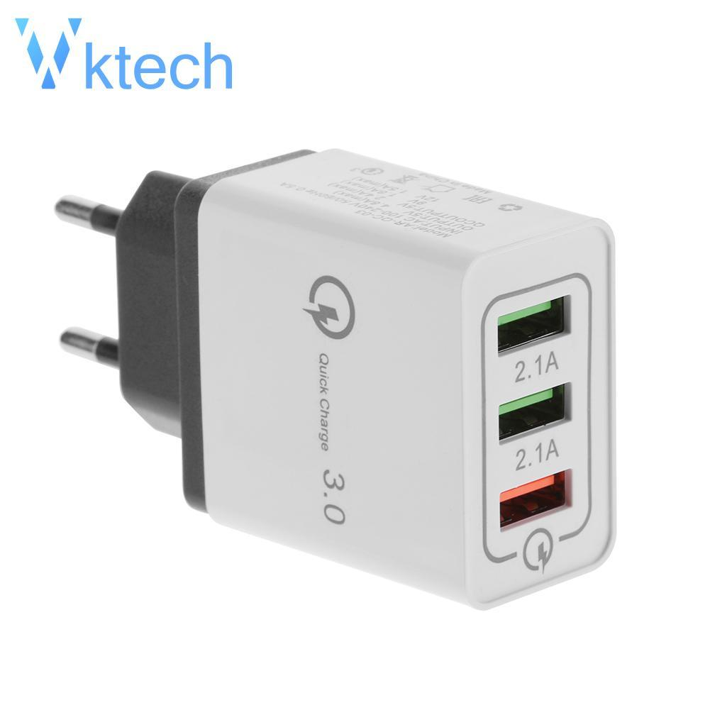 [vktech] Eu 3 Ports Usb Quick Charge Charger Mobile Phone Qc3.wall Charger Adapter By Vktech Official Store.