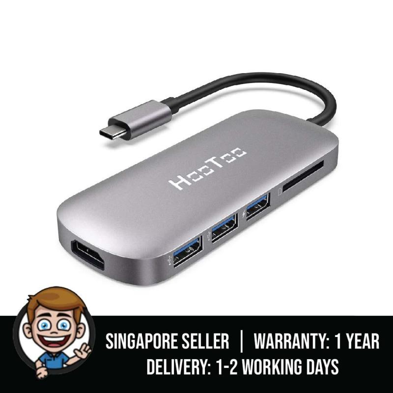 HooToo USB C Hub, 6-in-1 USB C Adapter (2019 Upgrade) with Power Delivery, 4K HDMI, 3 USB 3.0 for MacBook/Pro/Air and Type C Windows Laptops (Grey)