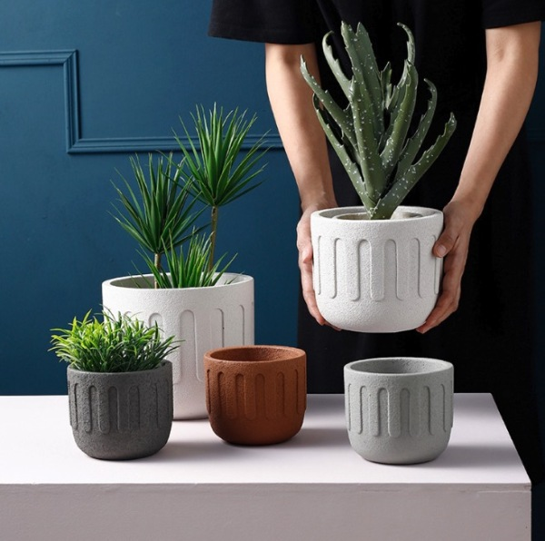 Nordic Earthly  U  Textured Colored Ceramic Flower Pots / Plant Pot / Planter