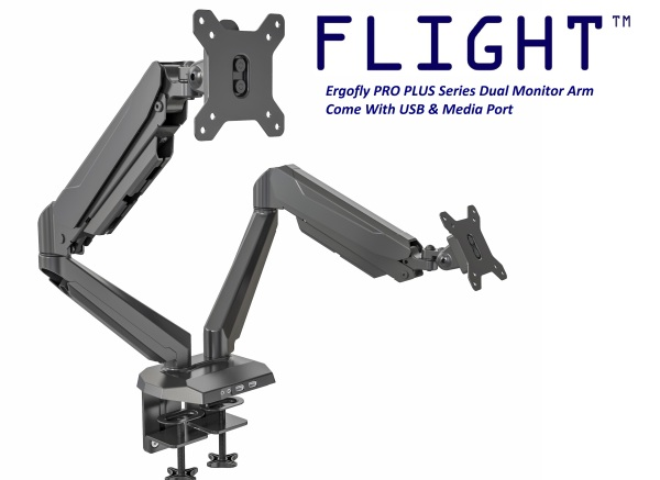 Flight™ Dual Ergofly PRO PLUS Monitor Arm LCD Arm Monitor Mount Vesa Monitor Stand Come With 2 x USB 1 x Media Port Dynamic Spring Mechanism, International Vesa Compatible, 0.5-8kg, Cable Management Included, 360 Degree Monitor Rotation