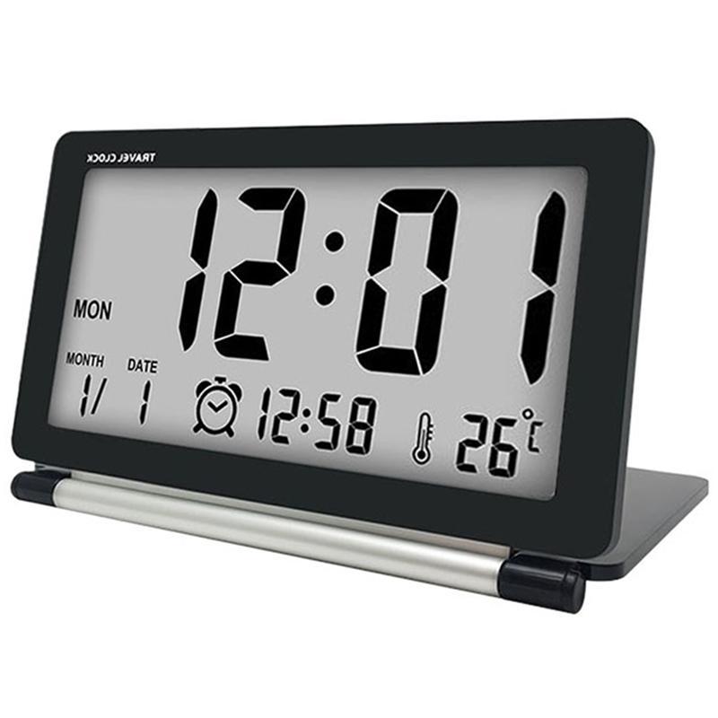 Travel Alarm Clock Lcd Mini Digital Desk Folding Electronic Alarm Table Clocks With Blue Backlight Snooze Calendar