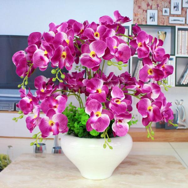 Butterfly Orchid Floral Potted Plant Model Dried Flower Case Decoration Artificial Flowers Silk Flower Living Room Table Asian Creative Luxury Art Works Display Flowers