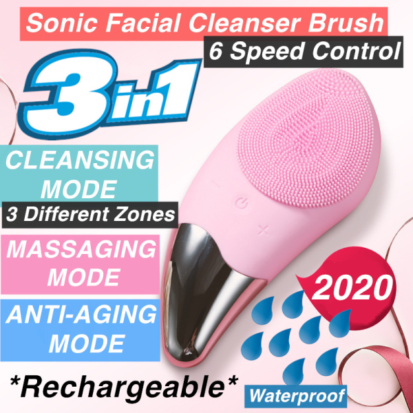 Buy Ultrasonic Sonic Facial Cleanser Brush - Exfoliate Deep Pore Care - Silicone Face Makeup Remover - 3 in 1 Skin Care Singapore