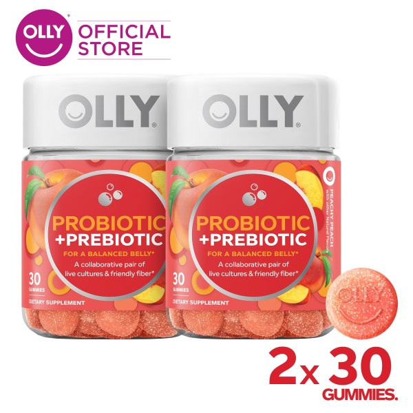 Buy [Bundle of 2] OLLY Probiotic + Prebiotic Gummy Supplements with Probiotics, Live Cultures, Prebiotic Fiber, for Balanced Belly, Chewable Supplement, 30 Day Supply (30 Count) Singapore