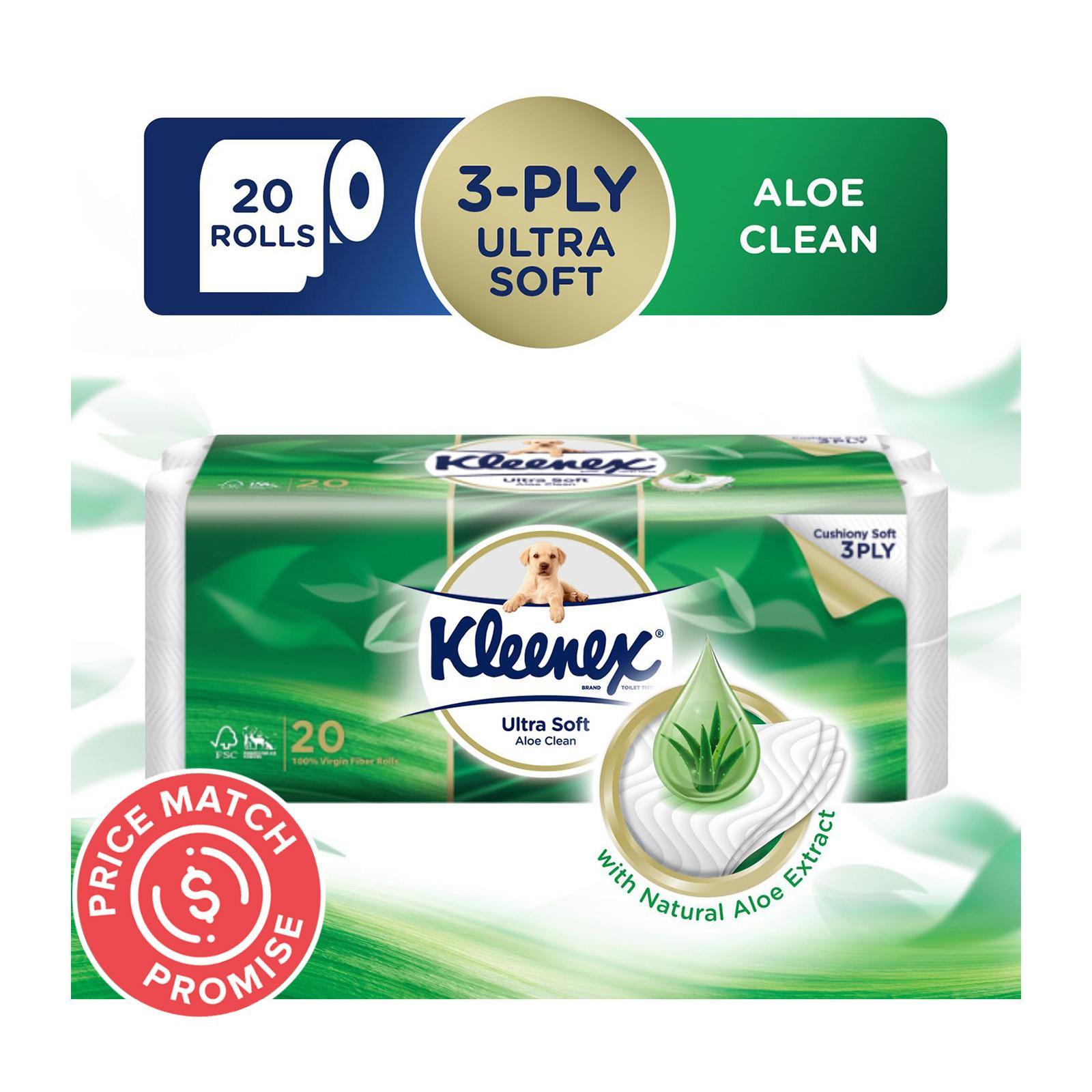 Kleenex Ultra Soft Aloe Clean 3-Ply Toilet Tissue - 20 Rolls
