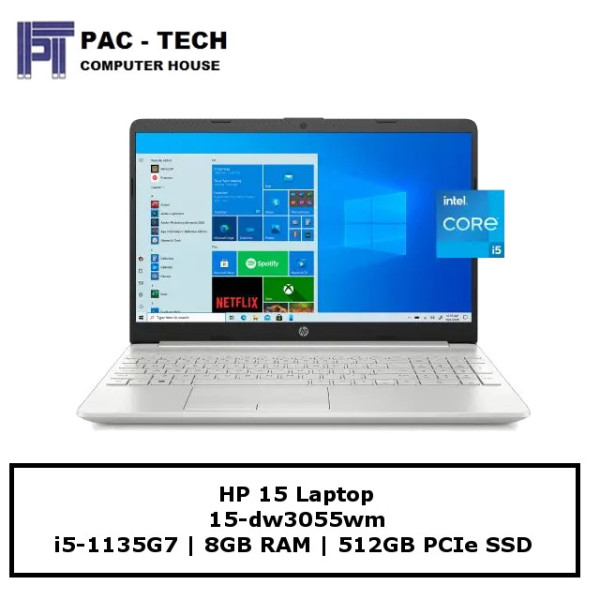 HP 15 Laptop [15-dw3055wm] | i5-1135G7 | 8GB RAM | 512GB SSD | 15.6 FHD Display | Windows 10 Home | 1 Year Warranty