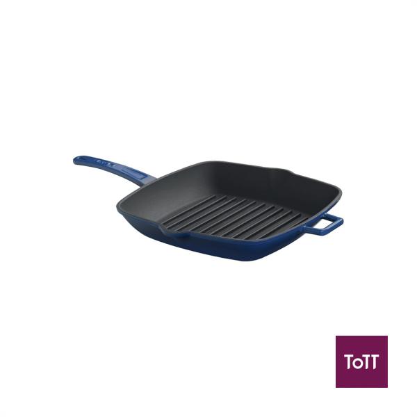 Lava Cast Iron 26cm Sq Grill Pan Blue Singapore