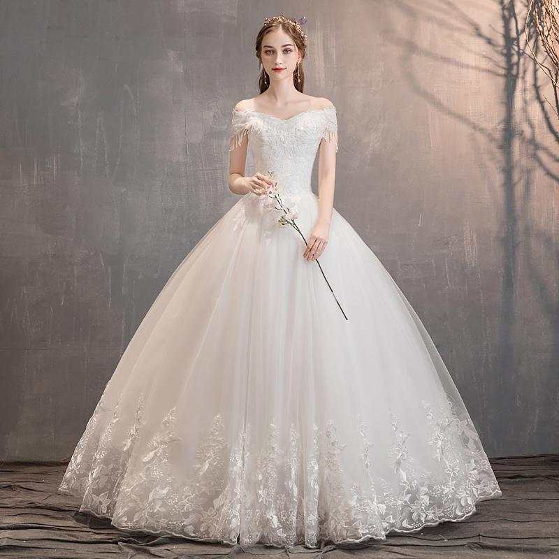 Ánh Sáng Chính Váy Cưới 2020 Mẫu Mới Khí Chất Cô Dâu Kết Hôn Phong Cách Mori Tôn Dáng Kiểu Pháp Giản Dị Trễ Vai Qi Ra Sợi