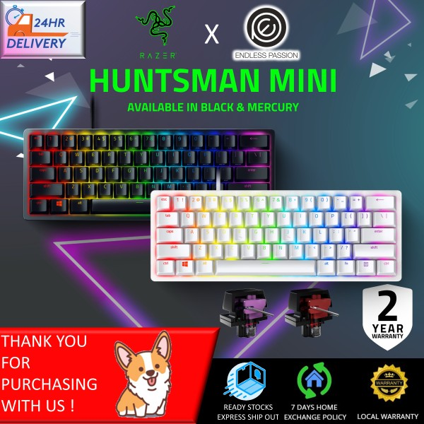 Razer Huntsman Mini 60% Gaming Keyboard: Fastest Keyboard Switches Ever - Clicky/Linear Optical Switches - Chroma RGB Lighting - PBT Keycaps - Onboard Memory - Classic Black [24 hours delivery]