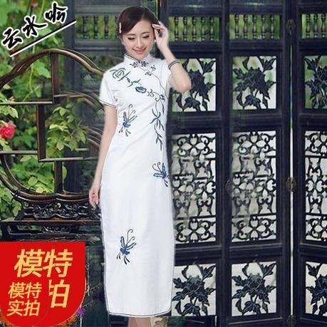 Cloud Shui Yin White Lotus If Maison Douyin Long Cheongsam Medium-Small Code Plus-Sized Douyin Female Autumn New Style One Piece Skirt 3xl.