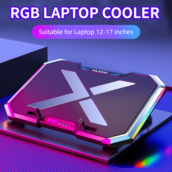 Gaming RGB Laptop Cooler Notebook Cooling Pad Super mute 6 LED Fans Powerful Air Flow Portable Adjustable Laptop Stand