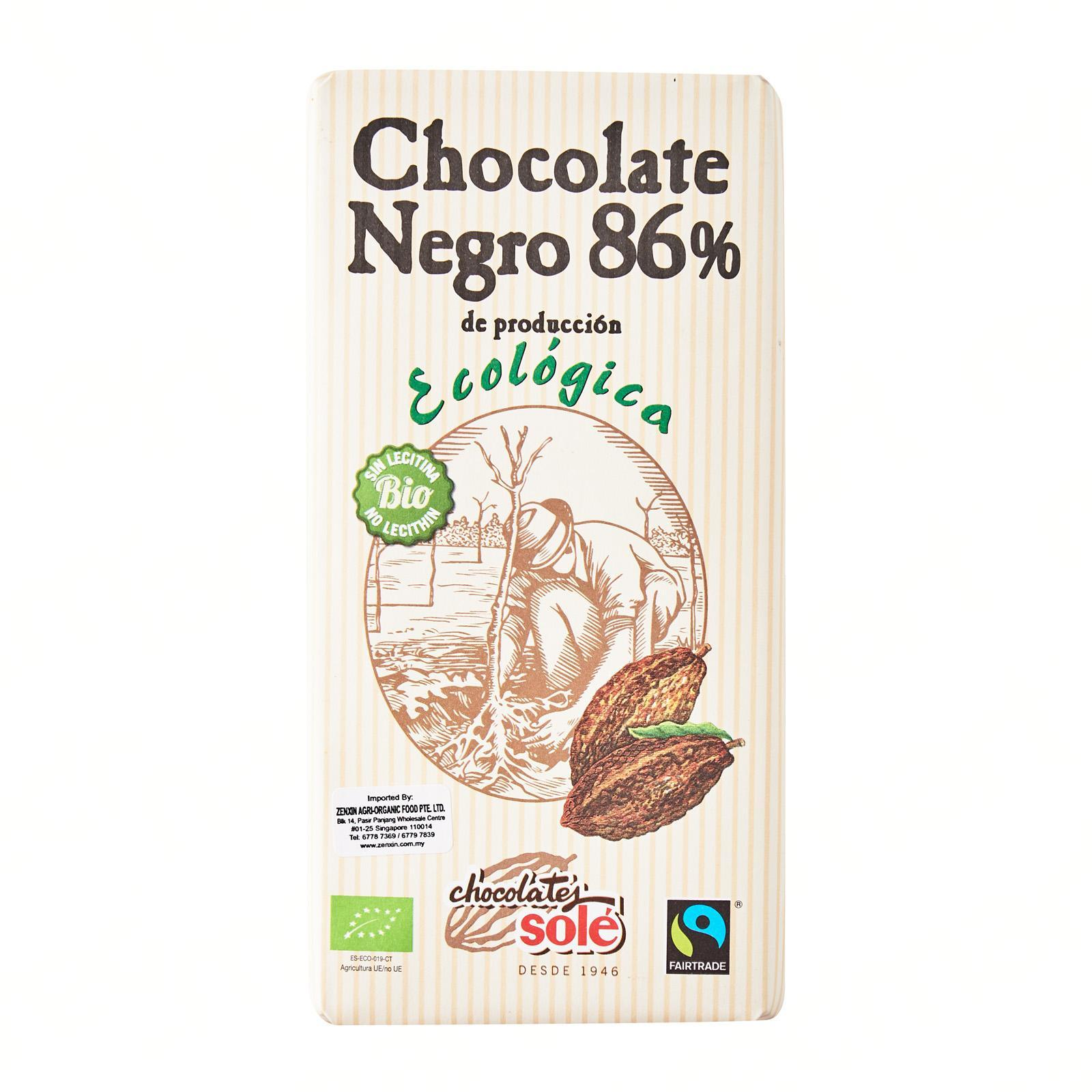 Chocolates SOLE Organic Dark chocolate 86 - percent - Simply Natural by Zenxin