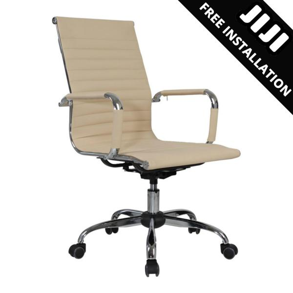 JIJI (Manager Office Chair - LEATHER) (Free Installation) - (Home Office Chair) Office chair/Study chair/Gaming chair/Ergonomic/ Free 12 Months Warranty (SG) Singapore