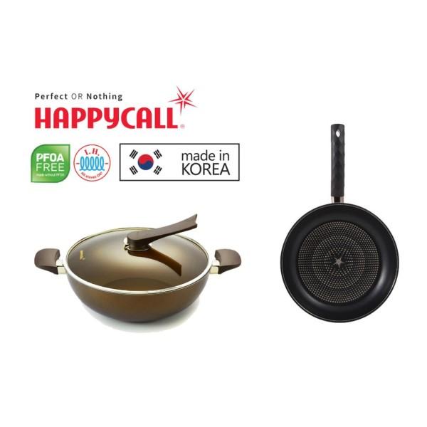 Happycall IH Gold 32cm Die Cast Wok With Lid 3900-0192 + Happycall IH Diamond Lite 32cm Die Cast Frying Pan (3900-0195) Singapore