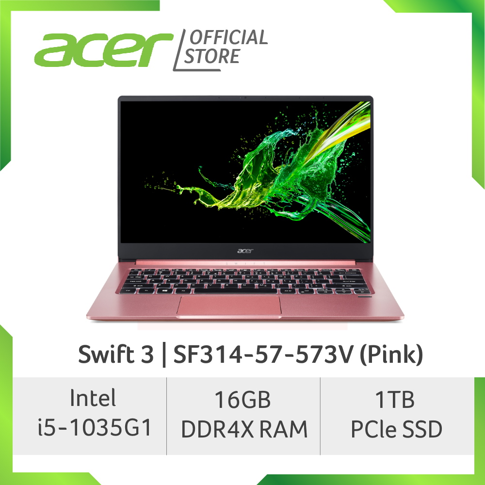 Acer Swift 3 SF314-57-573V (Pink) Thin and light laptop with Latest 10th Gen Processor and 16GB RAM