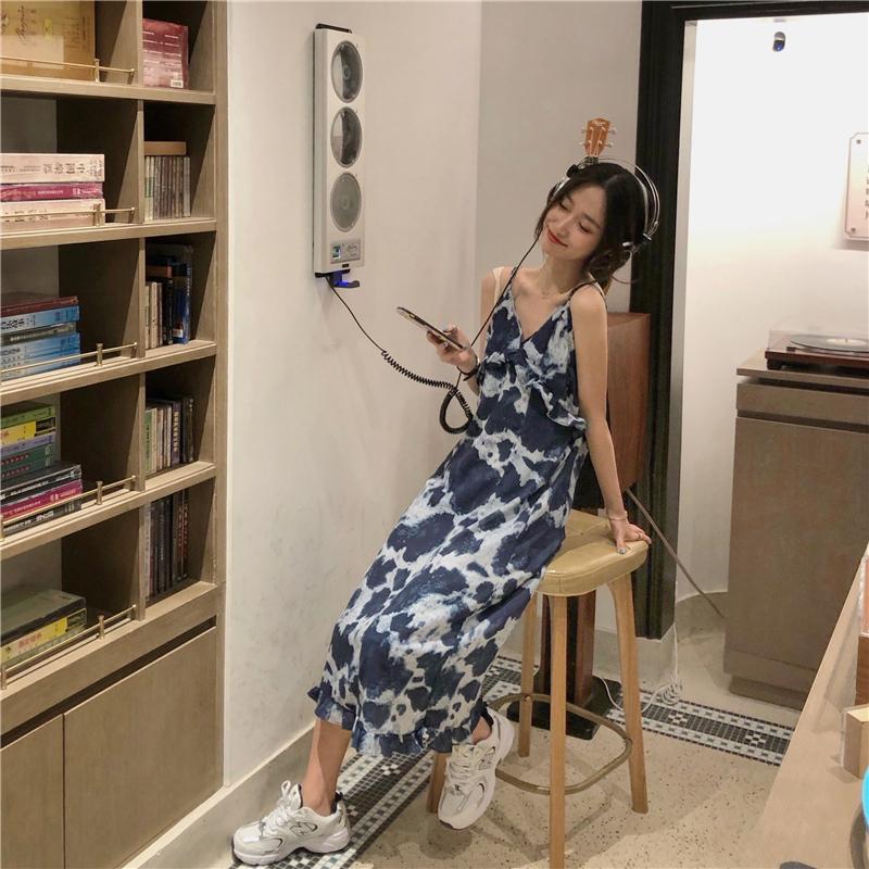2020 Mùa Hè Mẫu Mới Phiên Bản Hàn Quốc In Nhuộm Cổ Chữ V Quây Váy Dây Dáng Suông Rộng Váy Dài Phong Cách Kỳ Nghỉ Đầm Nữ