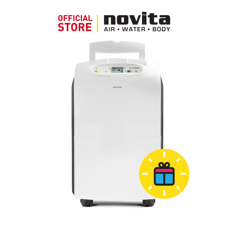 novita Dehumidifier ND390i-LCD with 3 years warranty (35L/day, Coverage Area up to 600 sq ft) + FOC GreenFan: F-2 & Surgical Respirator R5 (100pcs in a box) - Size (M) Singapore