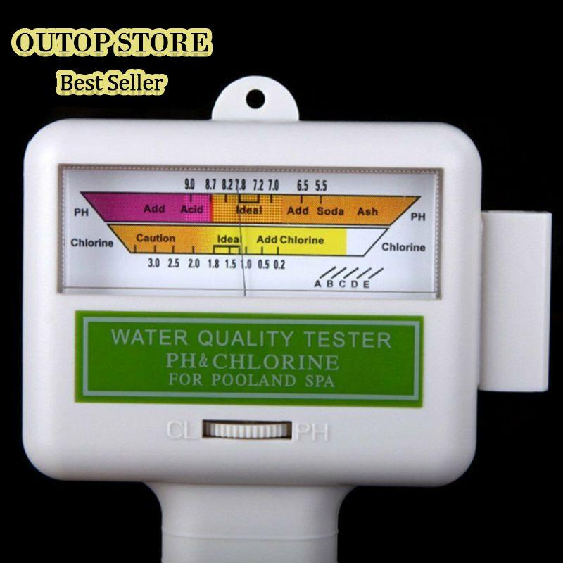 OUTOP PH CL2 Chlorine Tester Digital Water Quality Monitor For Pool Spa PH Meter FB(No Battery)