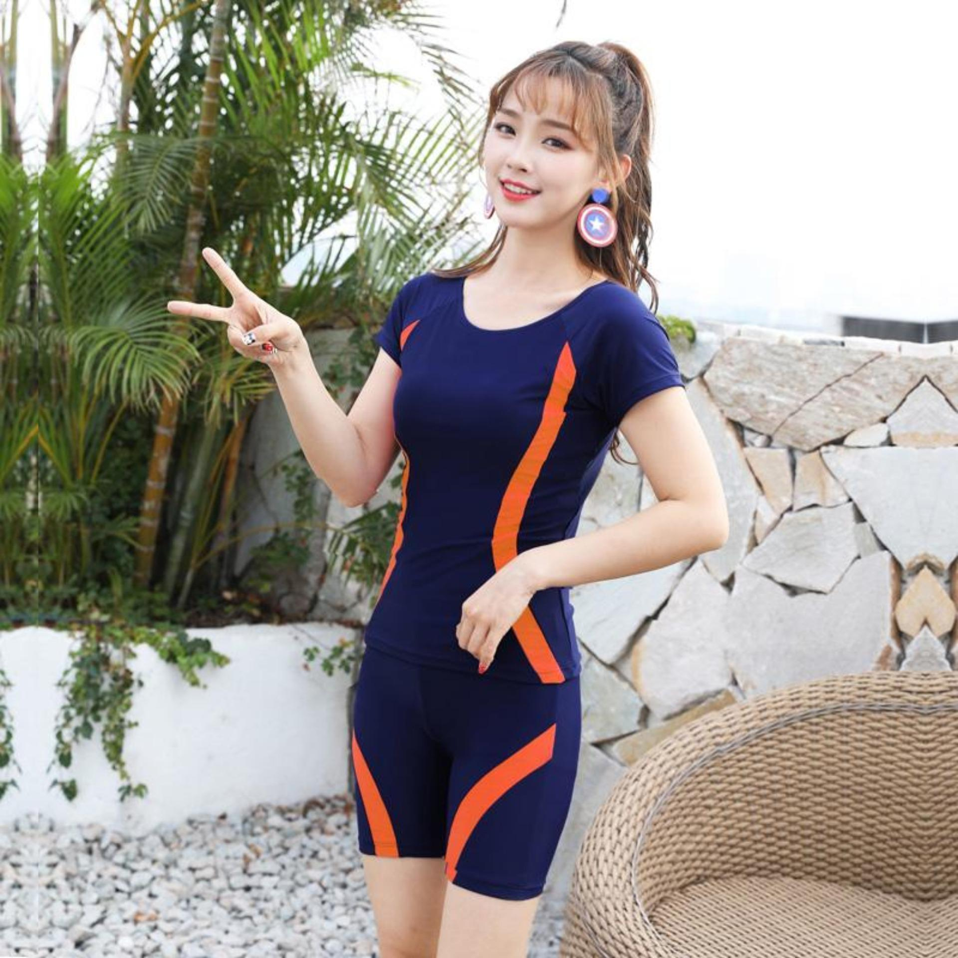 39d978164e222 LYSEACIA 4 Colors Two-Piece Suit Swimsuit for Women Push Up Swimwear Short  Sleeves Swimsuit