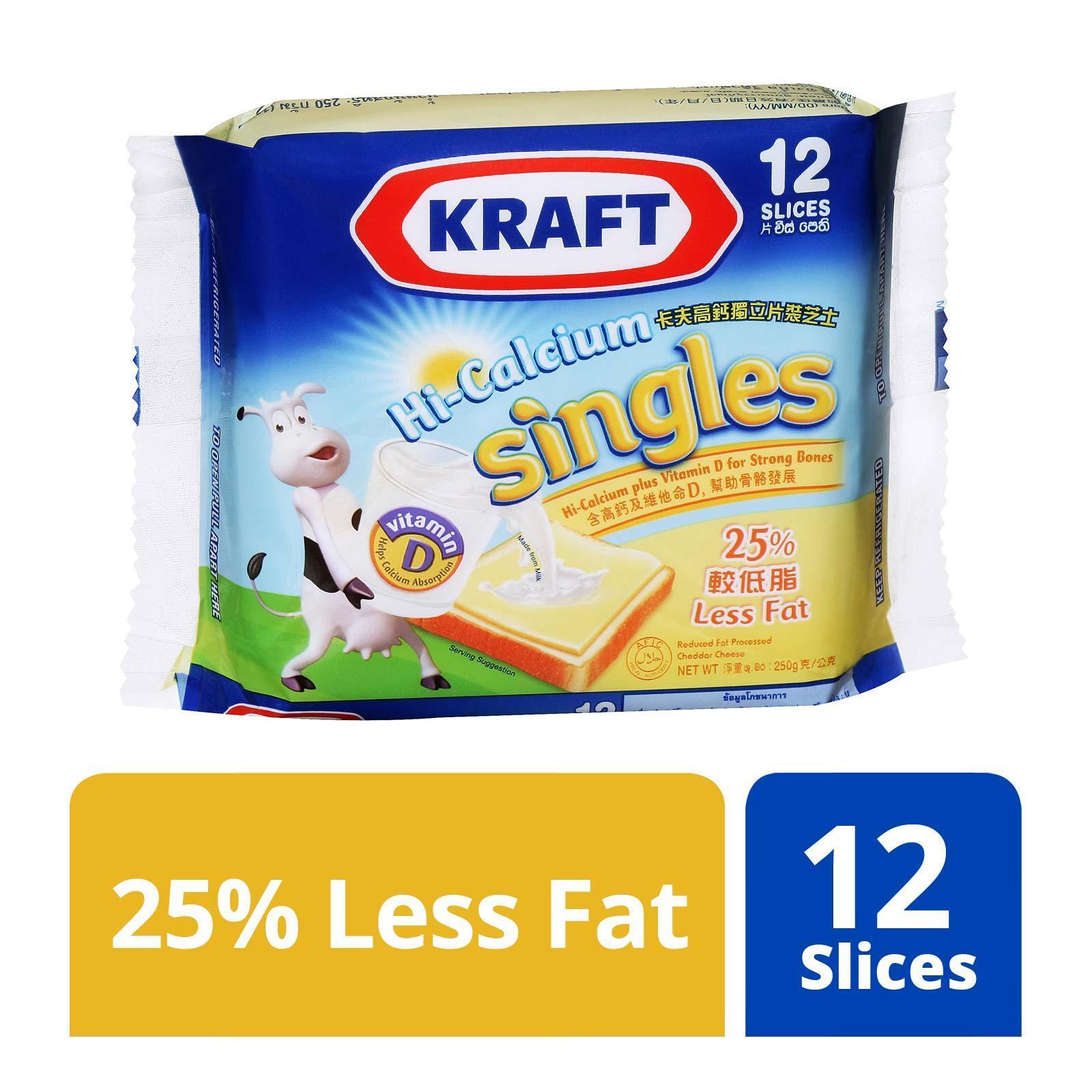 Kraft Singles Hi-Calcium 25% Less Fat Cheese Slices - 12 Slices