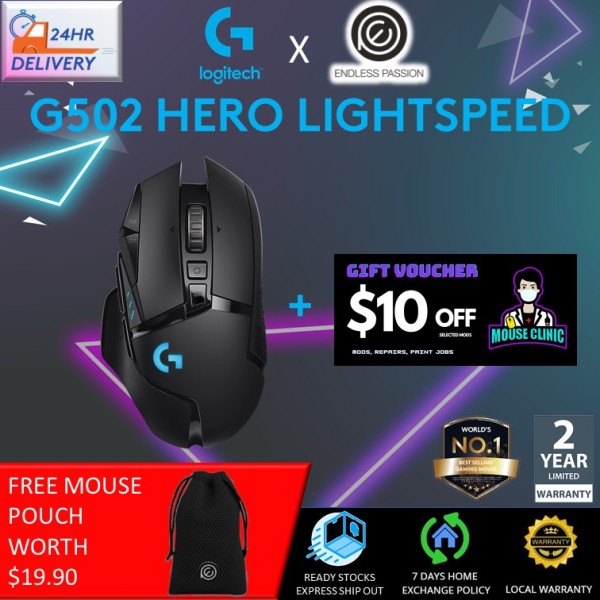 Logitech G502 Hero Lightspeed Wireless Gaming Mouse [24 hours delivery + FREE Mouse Pouch + $10 Mouse Clinic Voucher]