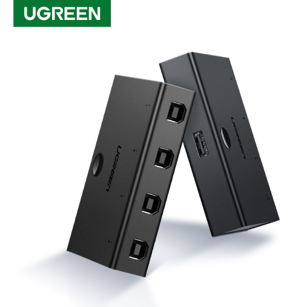 UGREEN USB 2.0 Sharing Switch 4 Port USB Peripheral Switcher Adapter Box Hub 4 PCs Share 1 USB Device for Printer Scanner with 4 Pack USB 2.0 Male Cable