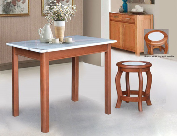 [A-STAR] 1 + 4 Marble Dining Set in wooden Table Chair FREE INSTALL)