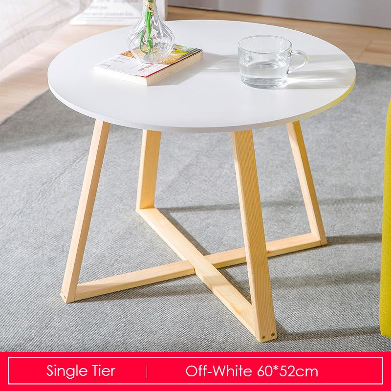 White Round Coffee Table With Wooden Base 60cm