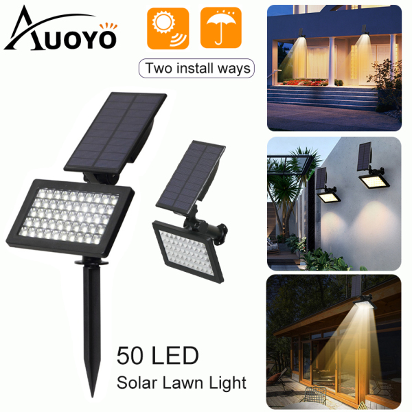 Auoyo Solar Light Outdoor Garden Lights 50 LED Spotlights Lawn Lamp Balcony Light IP65 Waterproof Security Torch Light Automatic On/Off for Garden Yard Path