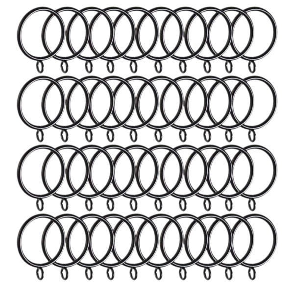40 Pack Curtain Rings, 38mm Internal Diameter Curtains Rings Hanging Rings for Curtains and Rods, black