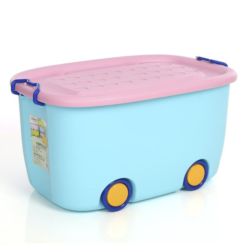 Childrens Cartoon Plastic Storage Box Kids Kindergarten Toy Clothes Book Snacks Finishing Box with Cap with Wheels