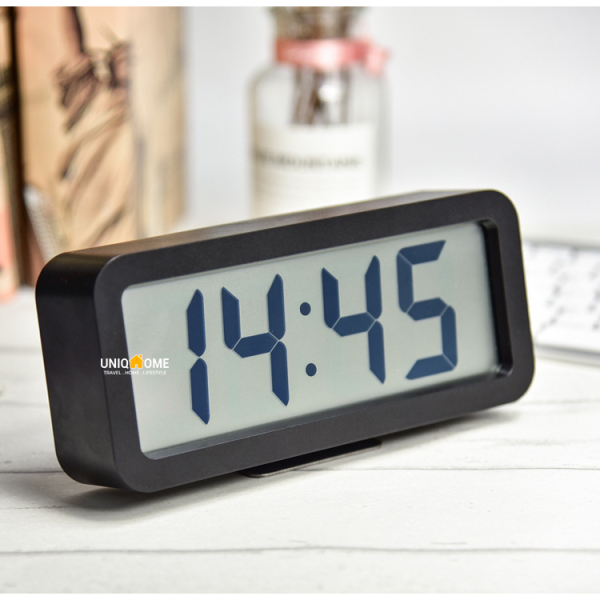 UniqHome LCD Large Screen Digital Alarm Clock Clocks Matte Finish with Music Tunes