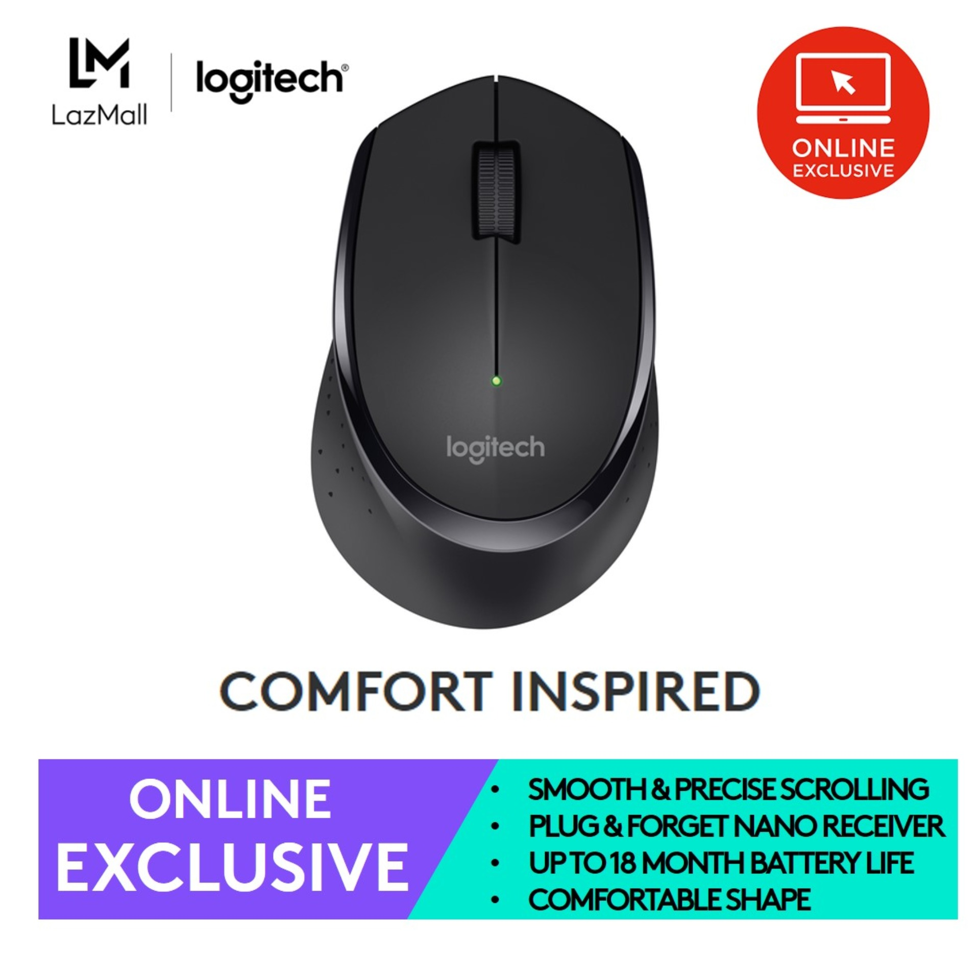 (TOP SELLER) Logitech Wireless Mouse M275 with Textured thumb rest for better grip