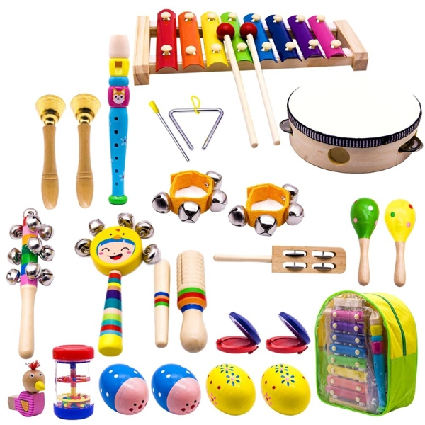 Kids Musical Instruments, 15 Types 23Pcs Wood Percussion Xylophone Toys For Boys And Girls Preschool Education With Storage Backpack Malaysia