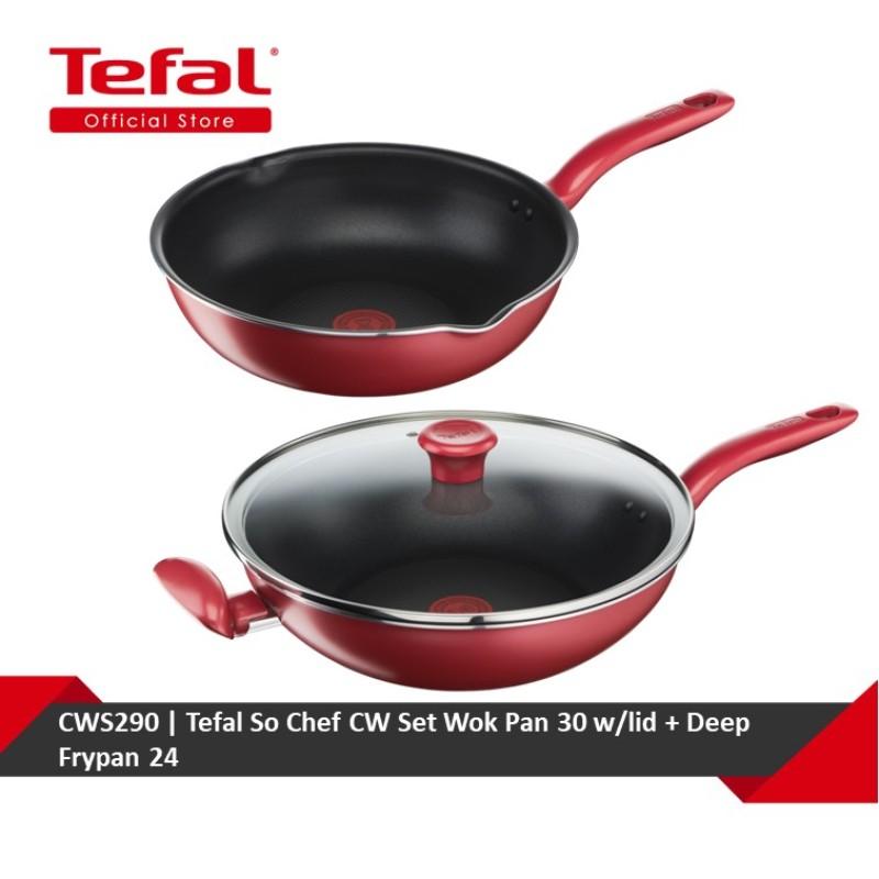 Tefal So Chef CW Set Wok Pan 30 w/lid + Deep Frypan 24 (G13594 + G13584) CWS290 Singapore