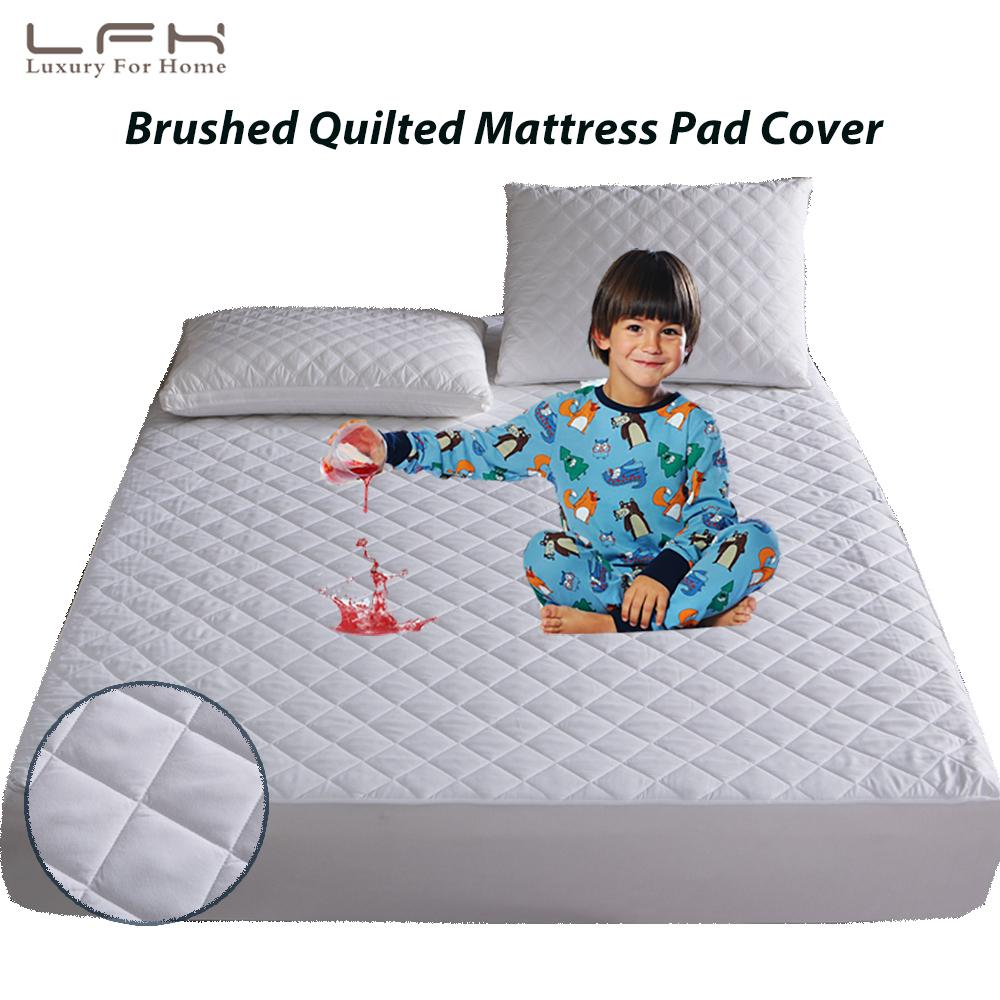Single/King Single/Queen/King Brushed Quilted Waterproof Mattress Pad Cover Anti Mites Mattress Protector Crib Bed sheet