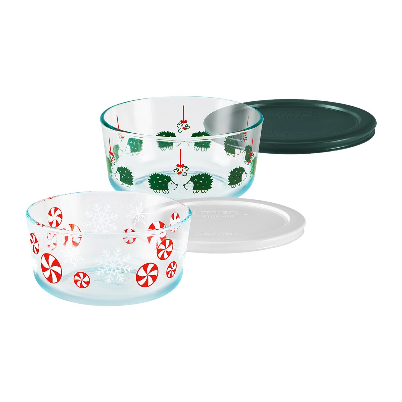 Pyrex 4 PCS 4 Cup Round Decorated Storage (Design: Hedgehog Love And Peppermints)