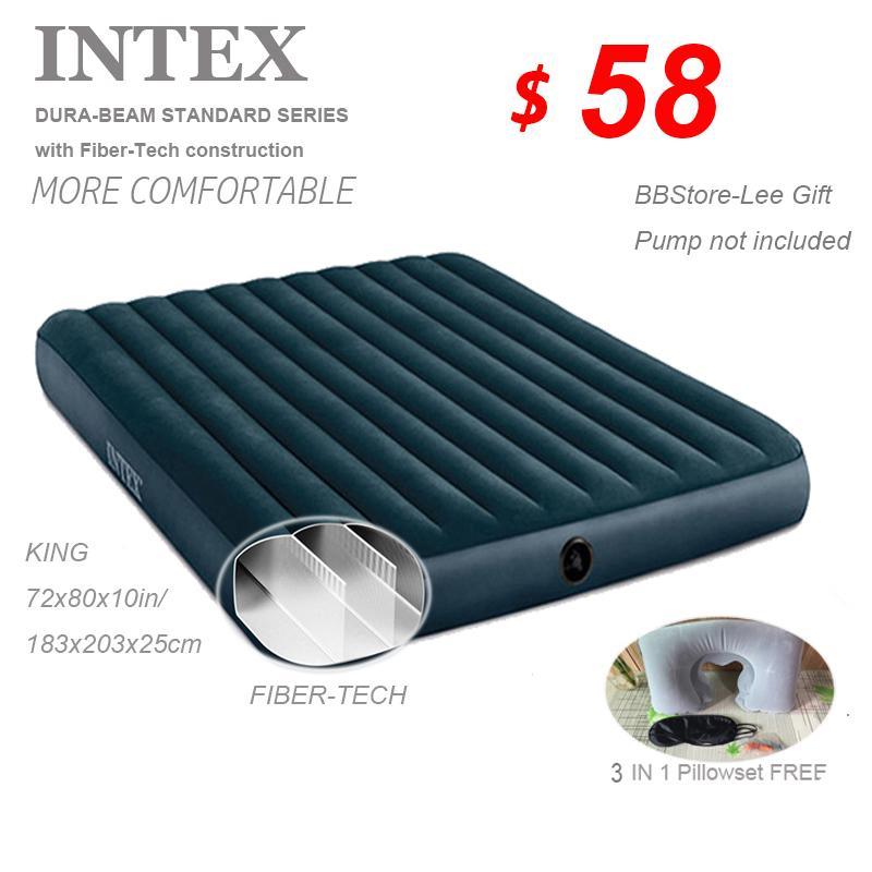 INTEX AIRBED with Fiber-Tech*72x80x10in*183x203x25cm*Pillow&Pump option to choose*Inflatable Mattress*AIR BED